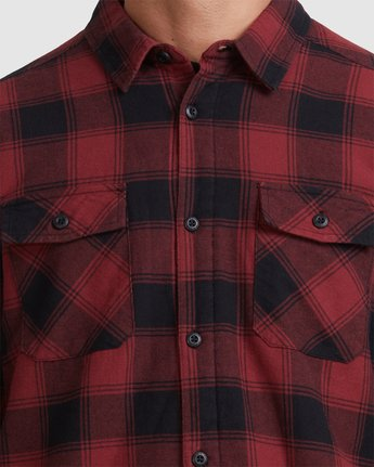3 REPLACEMENT FLANNEL LONG SLEEVE SHIRT Red R317182 RVCA