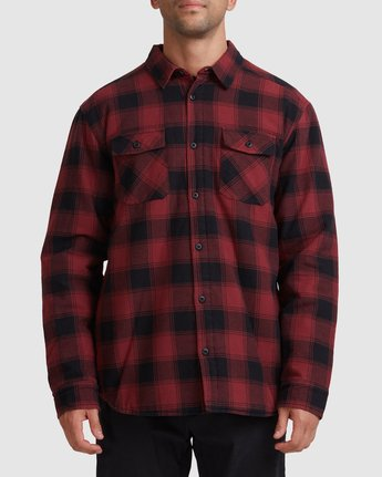 0 REPLACEMENT FLANNEL LONG SLEEVE SHIRT Red R317182 RVCA