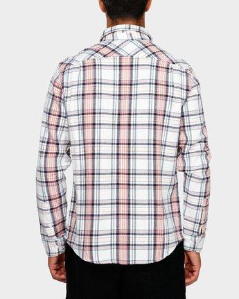 3 Avett Flannel Long Sleeve Shirt White R391182 RVCA