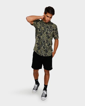 4 Leaf Camo Short Sleeve Shirt Black R391188 RVCA