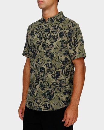 2 Leaf Camo Short Sleeve Shirt Black R391188 RVCA