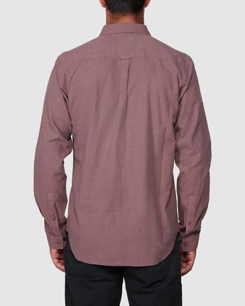 3 Crushed Long Sleeve Shirt Red R391193 RVCA