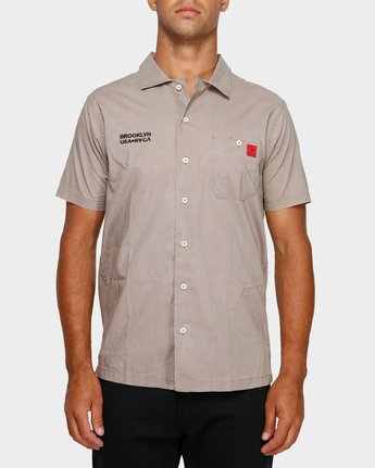 1 Smith Street Short Sleeve Shirt Green R391196 RVCA