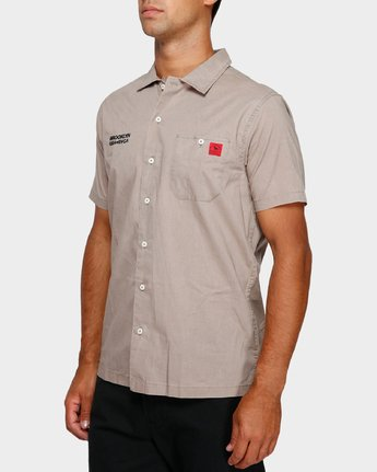 2 Smith Street Short Sleeve Shirt Green R391196 RVCA