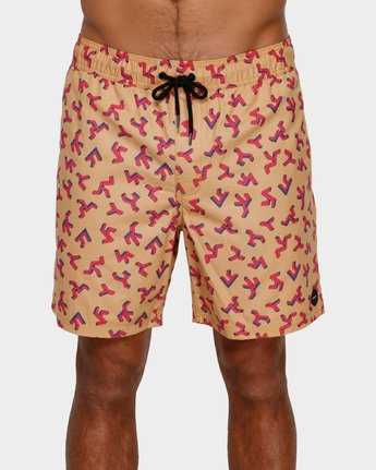1 Out There Elastic Shorts Orange R391403 RVCA