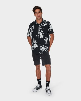 3 Vaughn Linear Short Sleeve Shirt Black R393184 RVCA