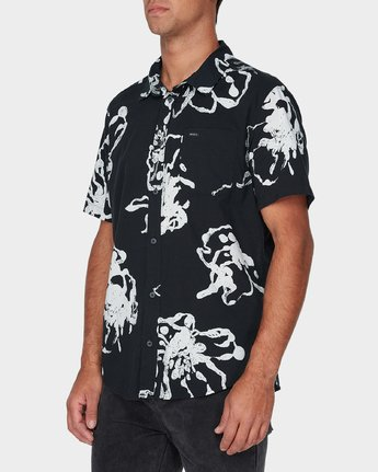 1 Vaughn Linear Short Sleeve Shirt Black R393184 RVCA