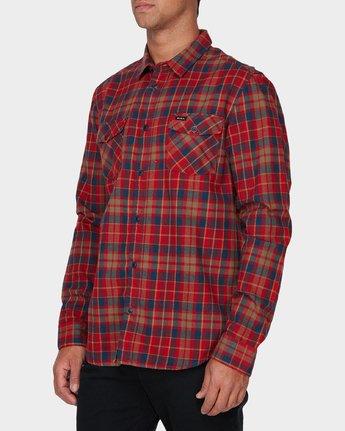 1 Watt Flannel Long Sleeve Shirt Red R393200 RVCA