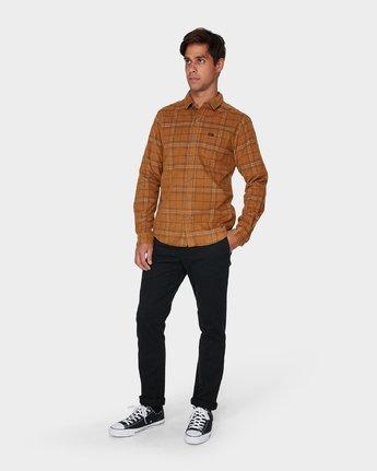 3 Phases Plaid Cord Long Sleeve Shirt Brown R393201 RVCA