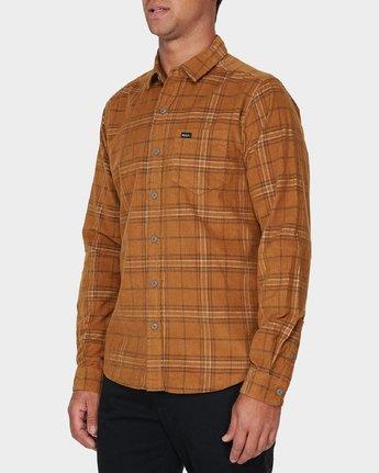 1 Phases Plaid Cord Long Sleeve Shirt Brown R393201 RVCA