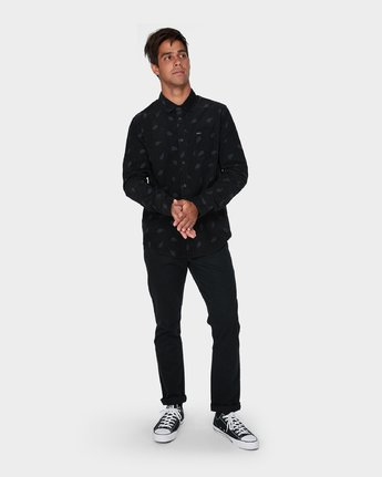 3 Paradis Cord Long Sleeve Shirt Black R393203 RVCA