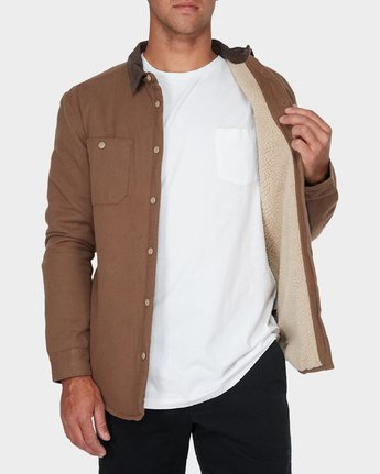 3 Victory Long Sleeve Shirt Beige R393441 RVCA