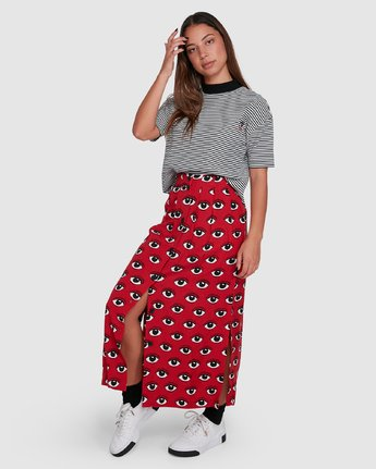 8 REALE MIDI SKIRT Red R405833 RVCA