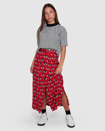 1 REALE MIDI SKIRT Red R405833 RVCA