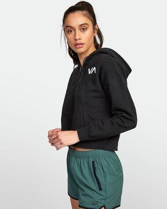 1 Sport Cropped Full Zip Hoodie Black R407885 RVCA