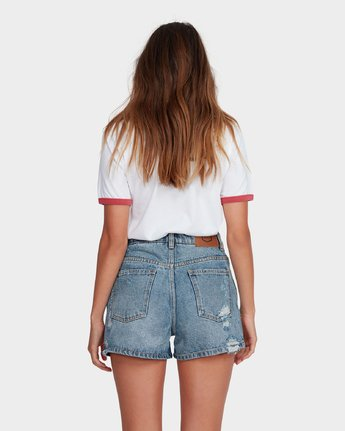 2 Transit High Rise Denim Short Blue R481313 RVCA