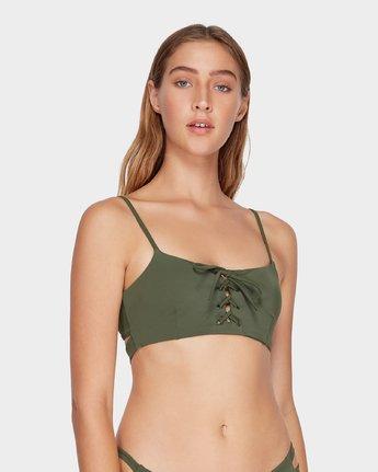 3 Solid Laced Bikini Top Green R493803 RVCA