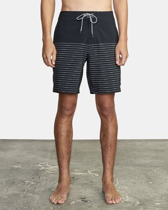 "1 Curren Trunk 18"" - Striped Board Shorts for Men Black S1BSRCRVP0 RVCA"