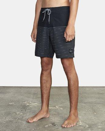 "1 Curren Trunk 18"" - Striped Board Shorts for Men Black S1BSRCRVP0 RVCA"