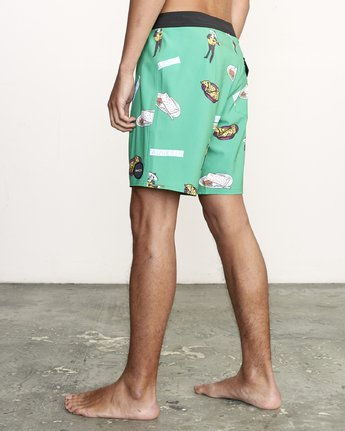 "3 Hot Fudge Trunk 18"" - Printed Board Shorts for Men Green S1BSRMRVP0 RVCA"