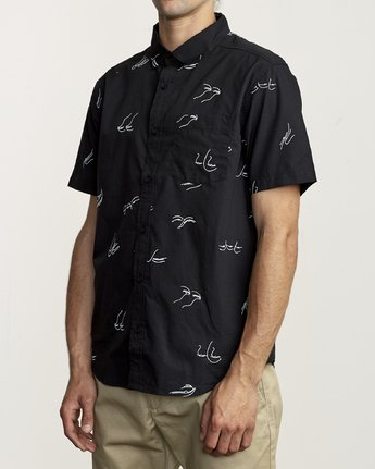 3 Johanna Olk Johanna Gestures - Short Sleeve Shirt for Short Sleeve Shirt Black S1SHRIRVP0 RVCA