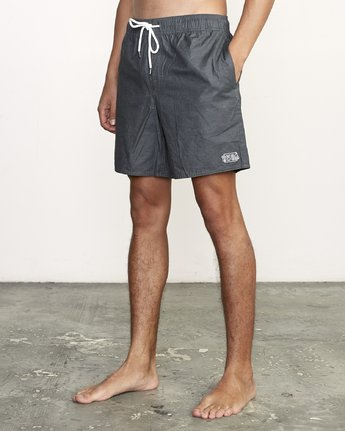 "2 Opposites 17"" - Elastic Waist Shorts for Elastic Waist Shorts Black S1VORBRVP0 RVCA"