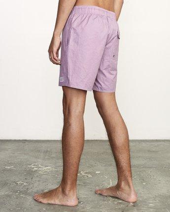 "3 Opposites 17"" - Elastic Waist Shorts for Elastic Waist Shorts Purple S1VORBRVP0 RVCA"