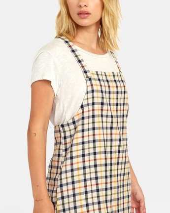 3 Allen Plaid - Plaid Jumper Dress for Women Beige S3DRRBRVP0 RVCA