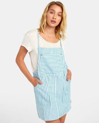 River - Striped Overall Style Dress for Women  S3DRRCRVP0