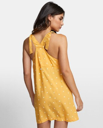 4 Boundary Dot - Dot Print Tank Dress for Women Yellow S3DRRGRVP0 RVCA
