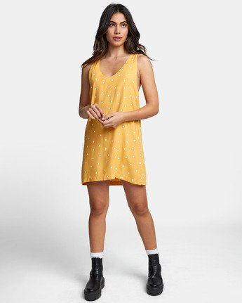 1 Boundary Dot - Dot Print Tank Dress for Women Yellow S3DRRGRVP0 RVCA