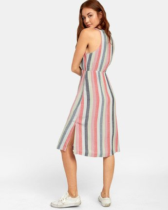 3 Flossie - Robe midi à rayures pour Femme  S3DRRMRVP0 RVCA