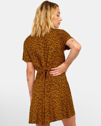 3 Guilt Dress - Printed Button Up Dress for Women Brown S3DRRORVP0 RVCA