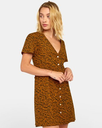 2 Guilt Dress - Robe boutonnée imprimée pour Femme Marron S3DRRORVP0 RVCA