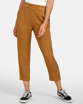 1 Manila - Pantalon cropped pour Femme Marron S3PTRGRVP0 RVCA