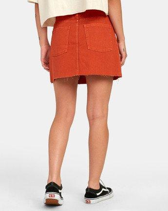 3 Siena - Jupe en jean taille haute pour Femme Orange S3SKRARVP0 RVCA