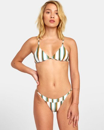 0 Isle Tri - Striped Triangle Bikini Top for Women White S3STRGRVP0 RVCA