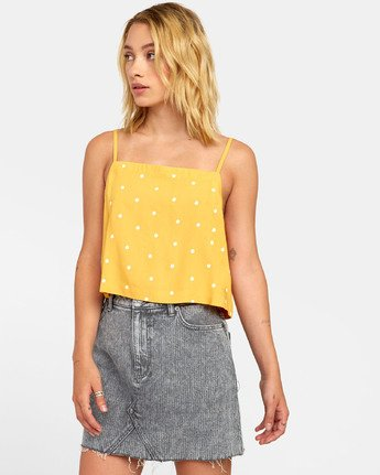 3 Logan - Printed Cami for Women Yellow S3TPRGRVP0 RVCA