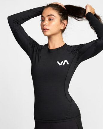 6 COMPRESSION LONG SLEEVE RASHGUARD Black TR011RCL RVCA