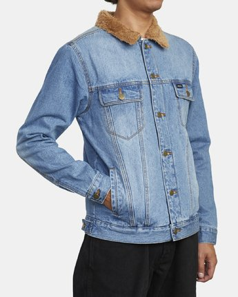 3 Daggers - Denim Sherpa Jacket for Men Blue U1JKRTRVF0 RVCA