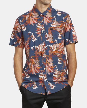 2 Paradiso Floral - Short Sleeve Shirt for Men Blue U1SHRXRVF0 RVCA
