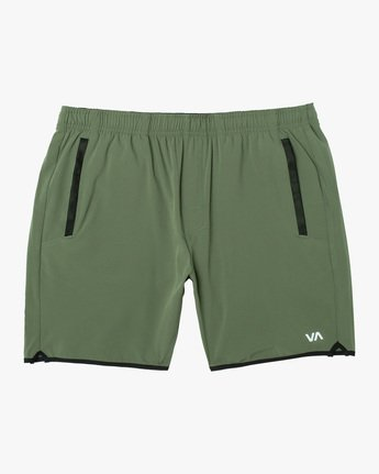 "0 YOGGER STRETCH ATHLETIC SHORTS 17"" Green V201TRYS RVCA"
