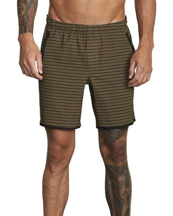 """2 YOGGER STRETCH recycled 17"""" workout SHORT Green V201TRYS RVCA"""