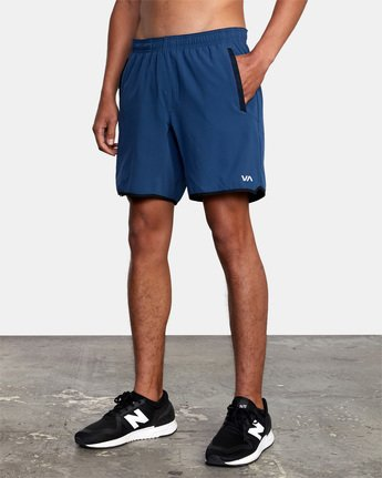 "5 YOGGER STRETCH ATHLETIC SHORTS 17"" Blue V201TRYS RVCA"