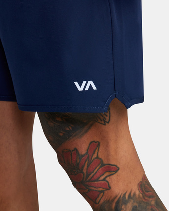 "7 YOGGER STRETCH ATHLETIC SHORTS 17"" Blue V201TRYS RVCA"