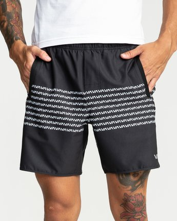 "7 YOGGER STRETCH recycled 17"" workout SHORT Black V201TRYS RVCA"