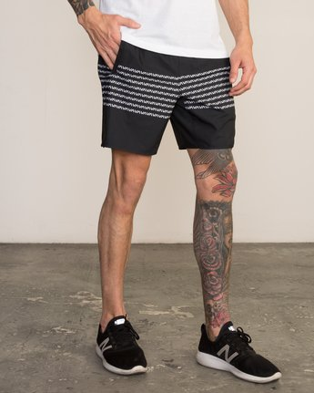 "6 YOGGER STRETCH recycled 17"" workout SHORT Black V201TRYS RVCA"
