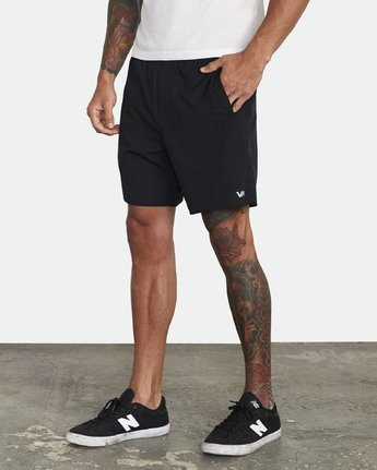 "4 YOGGER STRETCH recycled 17"" workout SHORT Black V201TRYS RVCA"