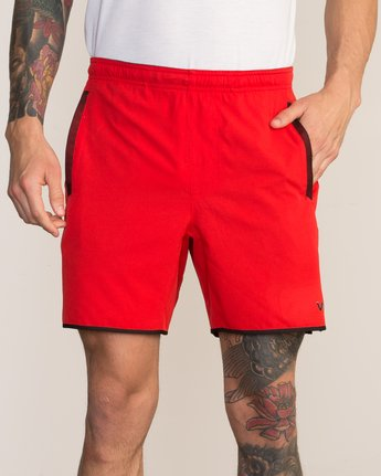 "7 Yogger Stretch 17"" Short Red V201TRYS RVCA"