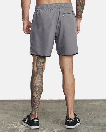 "4 YOGGER IV Recycled 17"" WORKOUT SHORT Grey V2091YGR RVCA"
